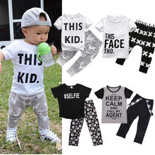 2PCS/Set Toddler Kids Baby Boy Girl Short Sleeve Letter Print Cotton T-shirt Tops+Dinosaur Pant Legging Outfit Clothing Set casual toddler kids baby boy girl clothes to do list long sleeve t shirt tops pant 2pcs outfit spring autumn suit tracksuit 1 6y