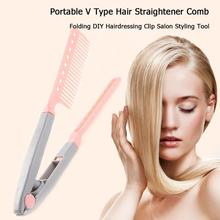 Portable V Type Hair Straightener Comb Folding DIY Styling Clip Tool
