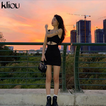 Kliou black sleeveless sexy hollow out drawstring bodycon  mini dress woman 2020 casual party streetwear package hip dress mujer
