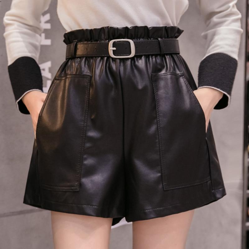 Shorts Women 2019 High Waist Shorts Drawstring Sashes Pockets Solid Shorts PU Leather Wide-legged Shorts A-line Button 6312 50