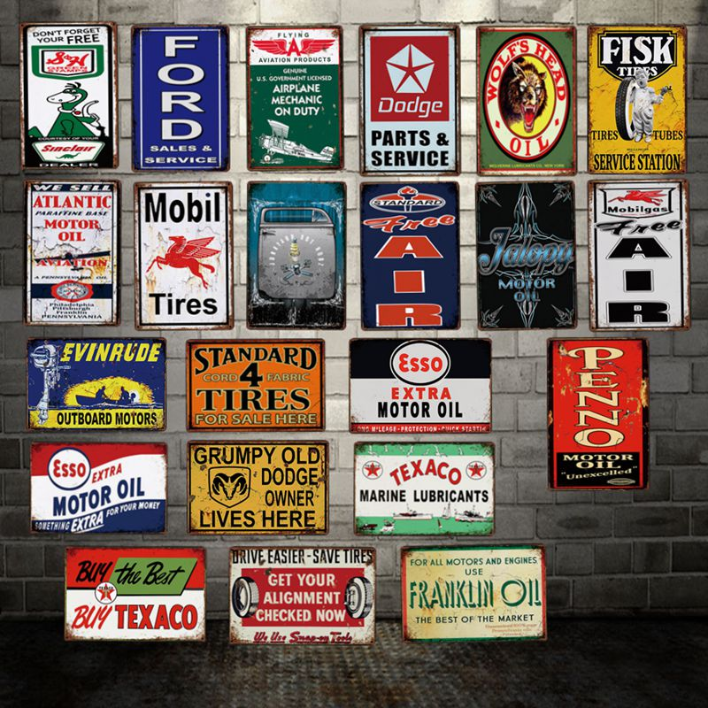 DecorMan Sterling Vacuum Motor oil Tires Power Lube TIN SIGN Custom wholesale Mural Paintings Bar PUB Decor LT 1877 in Plaques Signs from Home Garden
