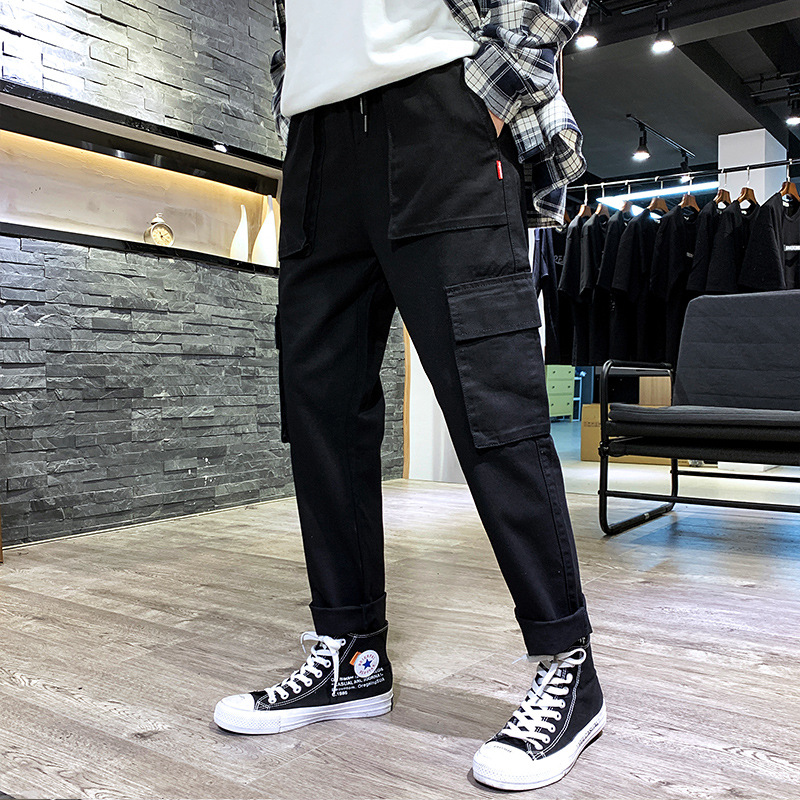 2019 Spring And Autumn Popular Brand Bib Overall Men's Loose-Fit Harem Pants Spring New Style Men Casual Sports Straight-leg Pan