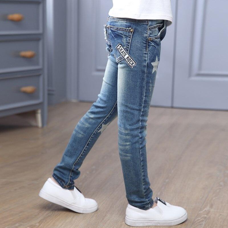 Children Denim Pants Girls Star Print Blue Jeans Kids Leggings Spring Autumn Teenager Girl Casual Pencil Trousers 6 8 10 12 Year 6