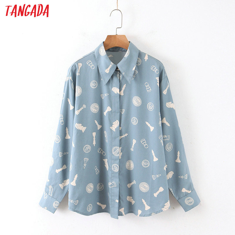 Tangada Women Blue Print Cotton Shirts Long Sleeve Turn Down Collar Elegant Office Ladies Spring Blouses QB83
