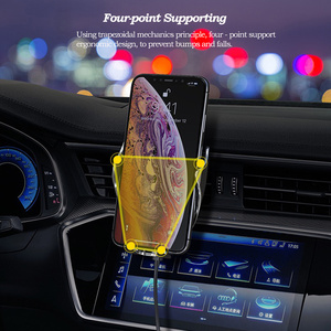 Image 5 - רכב אלחוטי מטען עבור iPhone XS Max XR X 8 סמסונג S9 S8 S10 אוטומטי אינפרא אדום חיישן צ י 10W מהיר טעינת מכונית טלפון בעל