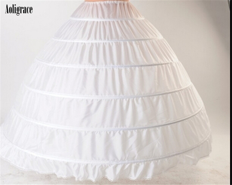 6 Hoops White Petticoats High Quality Wedding Accessories To Add Dress Volume Cheap Bridal Skirt