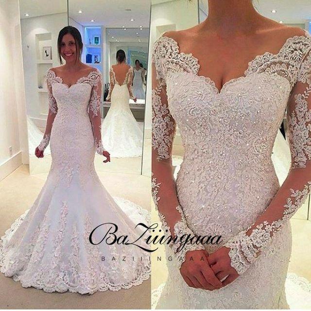 Elegant Lace Wedding Dresses Mermaid Bride Floral Print Lace Suitable For Church Wedding Plus Size Bride Dress Robe De Marié 2