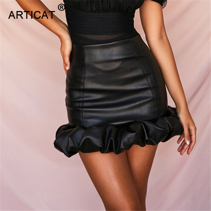 Articat Vintage Black PU Skirts Women High Waist Leather Bud Skirt Female 2019 Autumn Ladies Sexy Party Mini Skirt Streetwear