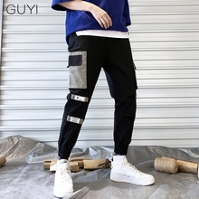 GUYI Striped Band Pocket Cargo Pants Men Patchwork Rib Ankle Tactical Pants Male Fashion Causal Sport Hip Hop Streetwear Joggers