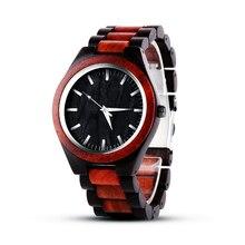 Reloj de hombre negro marrón madera completa bewell madera venta directa piezas de madera hecho a mano reloj masculino nuevo reloj de madera