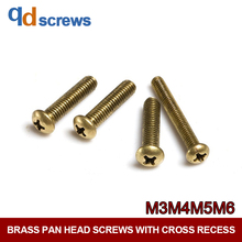 Brass M3M4M5M6 Pan head screws with cross recess Phillips Round Head Screw  Copper GB818 DIN7985 ISO 7045