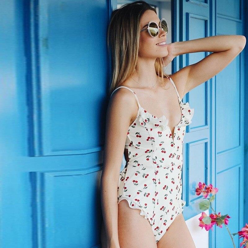 Nice Women Cherry Print Beach Bodysuit Deep V Neck Sexy One Piece Playsuit Spaghetti Strap Beach Wear