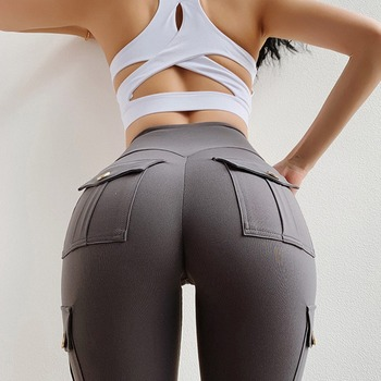 2021 Fitness Women Leggings Withe Pocket Solid High Waist Push Up Polyester Workout Leggings Cargo Pants Casual Hip Pop Pants 1