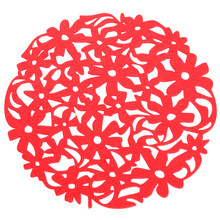 Round Laser Cut Flower Felt Placemats Kitchen Dinner Table Cup Mats Cushion(China)