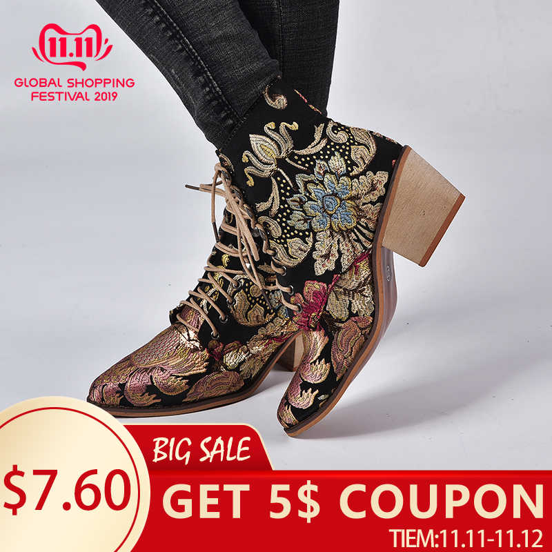 New Spring Retro Women Embroidery Flower Short Boots Lady Elegant Lace Up Ankle Boots Female Chunky Botas Mujer