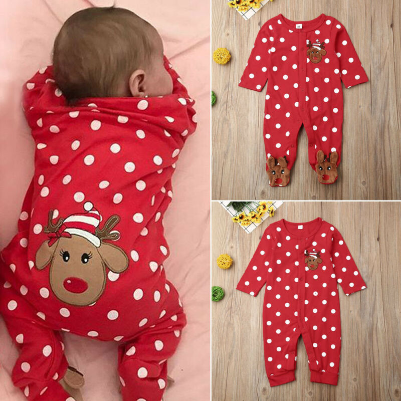 Infant Baby Boy Girl Christmas Outfit Romper Jumpsuit Playsuit Cotton Clothes