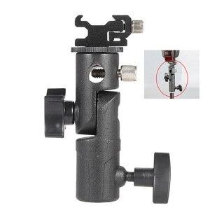 """Image 1 - E tipi üniversal Metal flaş braketi sıcak ayakkabı Speedlite şemsiye tutucu ile 1/4 """"3/8"""" vidalı bağlantı döner adaptör ışık standı"""