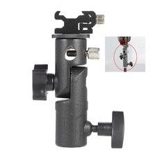 """E tipo universal suporte de metal flash sapato quente speedlite guarda chuva titular com 1/4 """"a 3/8"""" parafuso adaptador montagem giratória luz suporte"""