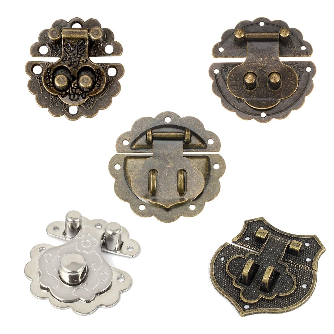 Uxcell 1/2/5/10pcs Wood Case Latches Chest Box Rectangle Clasp Closure Hasp Bronze Tone 30x30/40x40/58x58/78x78mm