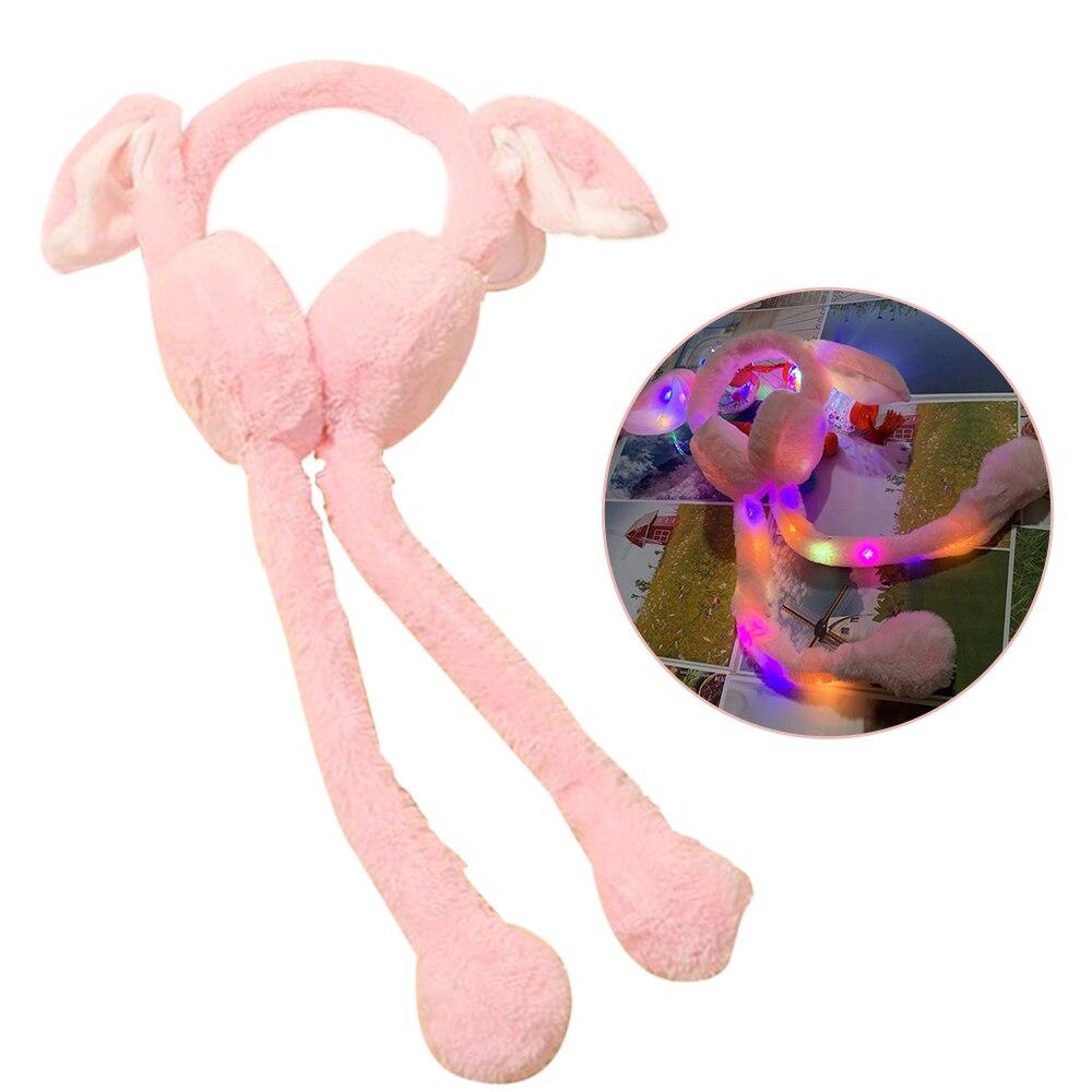 LED Shine Moving Rabbit Ear Hat Velvet Toys Hair Hoop Hat Earmuffs Plush Toy Gifts For Children