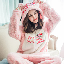2019 New onesie women christmas onesies Pink Panther winter warm thick Fannel cookie monster girl  long sleeve nightgown pajamas