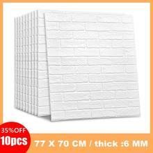 10 stücke 3D Wand Sticker Klassische Ziegel Korn Tapete Aufkleber Extra Dicke 6MM Wand Dekor Aufkleber für Wohnzimmer schlafzimmer TV Wand