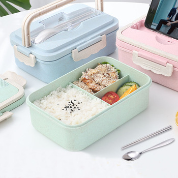 Wheat Straw Lunch Box Creative Fashion Microwave Sealed Lid Tableware Food Container Multi-functional Lattice Durable Bento Box