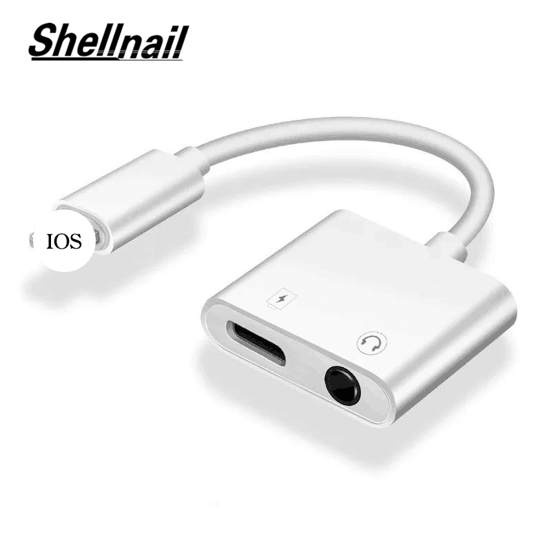 Shellnail 2 In 1 Audio Adapter Charging Earphone Cable For IPhone X XS Max XR 7 8 Plus Aux Jack Headset 3.5mm Headphone Splitter
