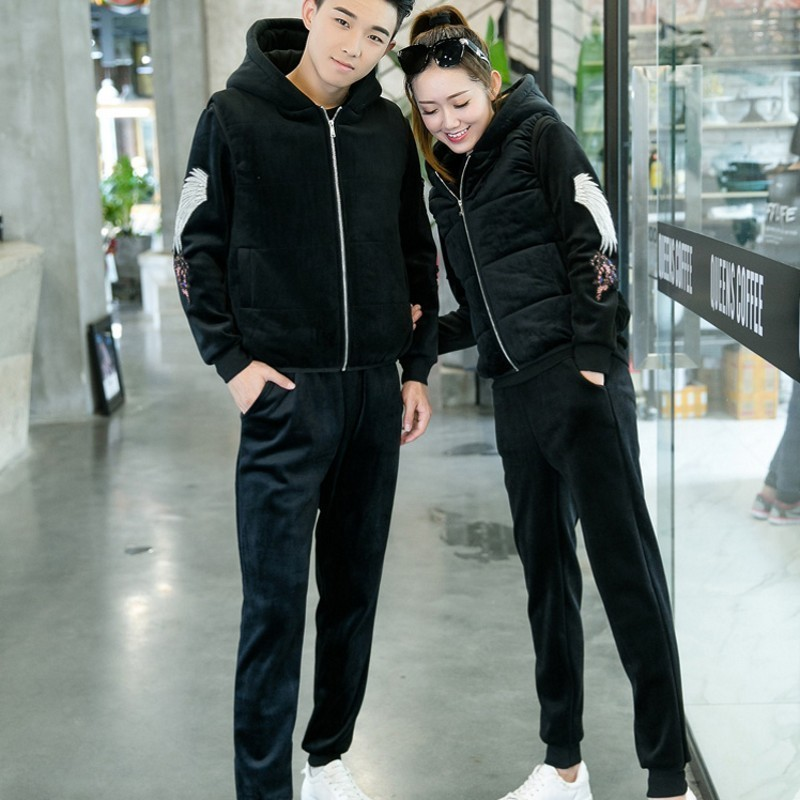 Couple Embroidery Casual Thick Velvet 3Pcs Outfits Sleeveless Hooded Vests O-Neck Pullover Sweatshirts Drawstring Waist Pants