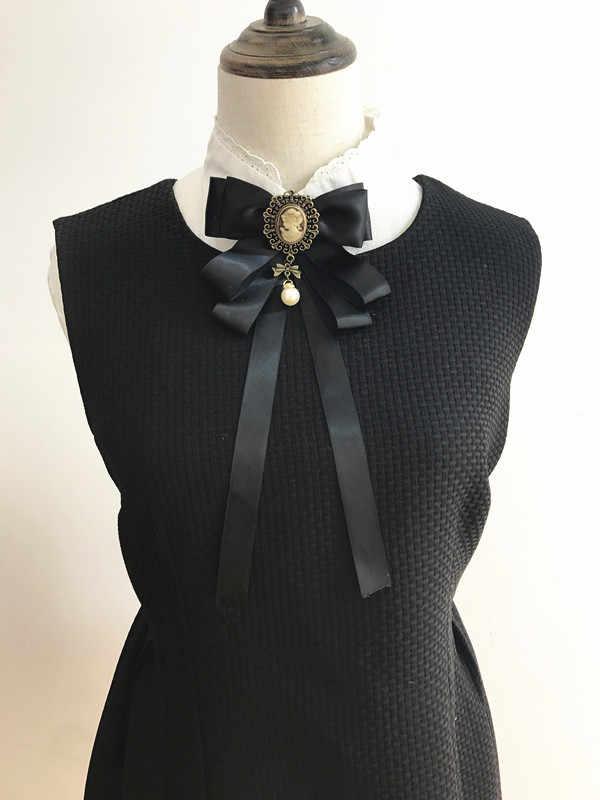 خمر لوليتا الجمال رئيس ربطة القوس فيونكة بروش الإناث الرجعية البريطانية كلية نمط الانحناء دبابيس للنساء قميص طوق اكسسوارات
