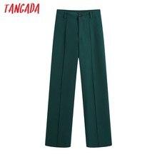 Tangada-ropa de oficina para Mujer, Pantalones rectos verdes Vintage de cintura alta con cremallera, BE414, 2021