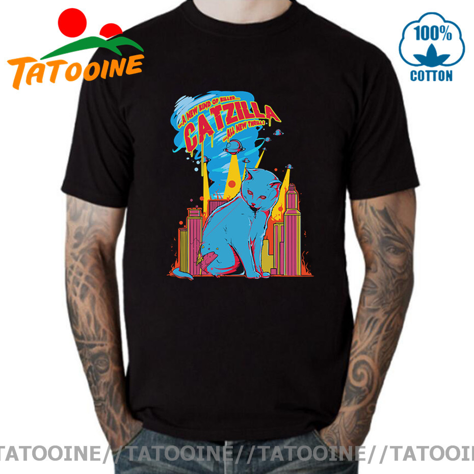 Tatooine Japan Kanji Cat Monster T shirts Vintage Great Catzilla T-shirt Cat Gojira Destroy tshirt Retro Tokyo Kaiju Kitten Tees