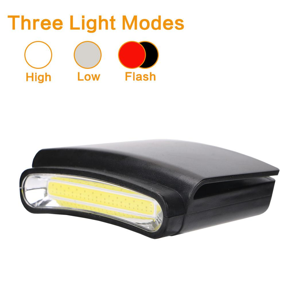 COB LED Clip On White Flashlight Head Light Cap Hat Headlamp 3 Modes Cycling Hiking Camping Headlight With 3*AAA Battery