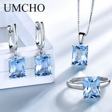 UMCHO Real 925 Sterling Silver Jewelry Created Sky Blue Topaz Rings Earrings Necklace Wedding Gifts For Women Fine Jewelry Sets(China)