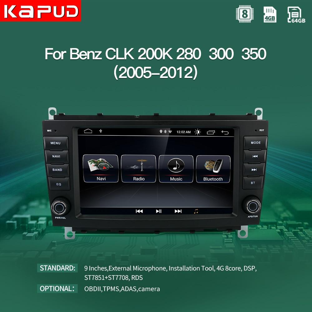 Kapud android 10 carro multimídia jogador autoradio gps para mercedes benz clk classe w209 rádio navegação estéreo bt