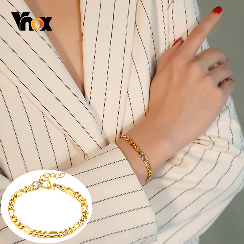 Vnox Chic Figaro Link Chain Bracelets for Women 5 MM Wide Gold Color Stainless Steel Wrist Jewelry Length Adjustable