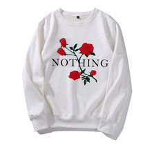 New Fashion Print Rose NOTHING Women's Sweatshirts Harajuku Hip Hoip Streetwear Hoodies Crewnceck Long Sleeve Pullover Tops(China)