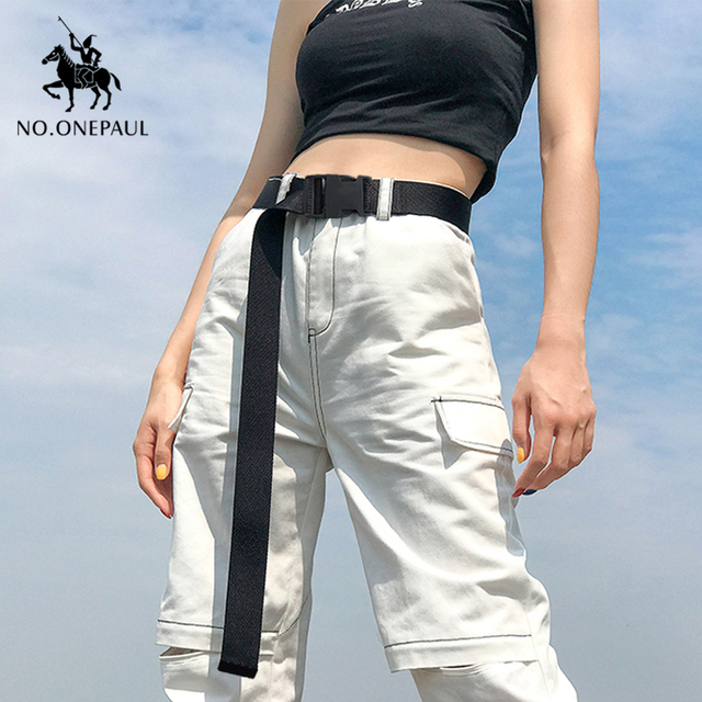 Comfortable solid color cloth with brand luxury buckle new casual outdoor tactical belt