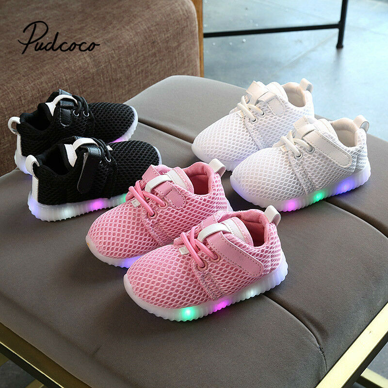 2020 New LED Classic Sports Sneakers Newborn Baby Boys Girls First Walkers Shoes Infant Toddler Soft Sole Anti-slip Baby Shoes