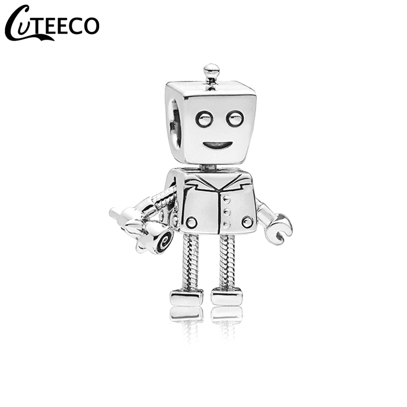 CUTEECO 2019 New Robot Rose DIY Alloy Charm Beads Fit Pandora Bracelet Necklace For Women Jewelry Accessories Wholesale