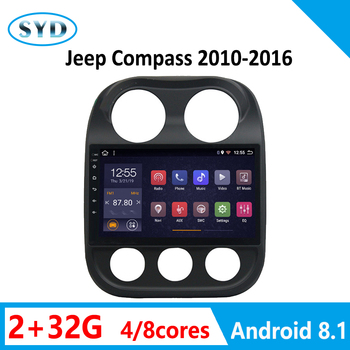 RAM 2G For Jeep Compass 2010 2011-2016 Car Radio Multimedia Player Video Stereo GPS Navigation WIFI 1 DIN Android 8.1 AM RDS DSP