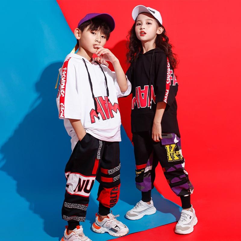 Kid Loose Oversized Hoodies Sweatshirt Top Running Casual Pants Hip Hop Clothing For Girls Boys Jazz Dance Costume Clothes Wear