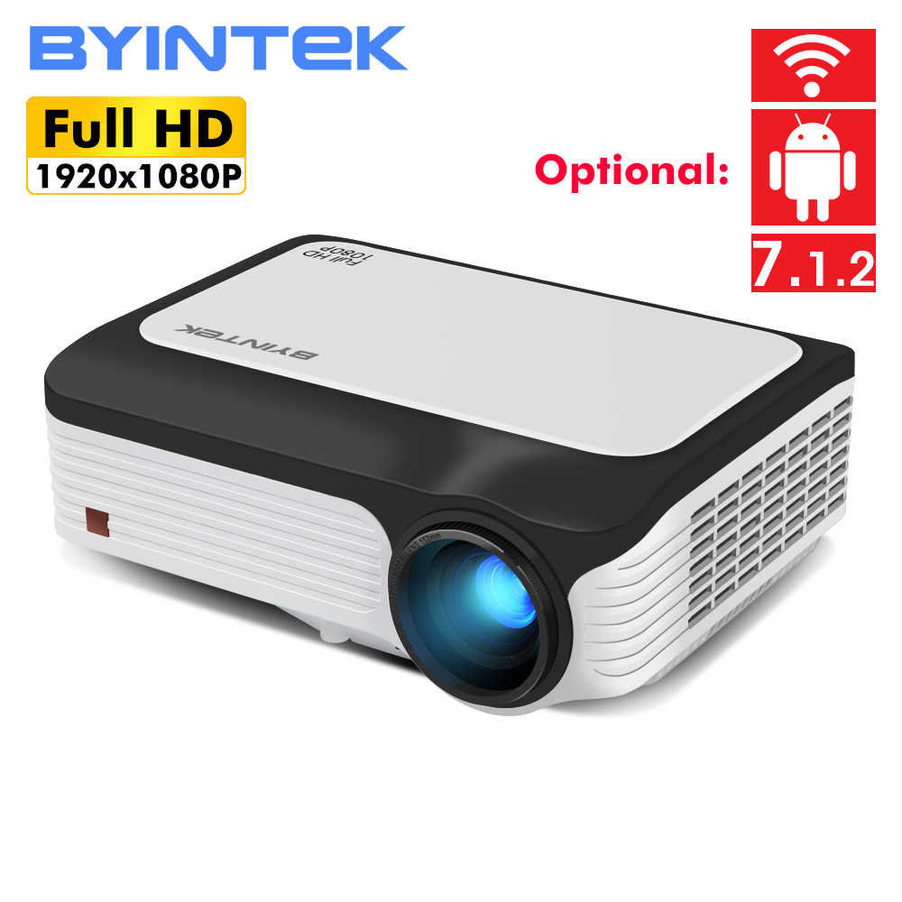 BYINTEK M1080 inteligente (1 GB, 2GB + 16 GB) android WIFI FULL HD 1080P HD LED portátil Mini proyector 1920x1080 de vídeo LCD para Iphone SmartPhone