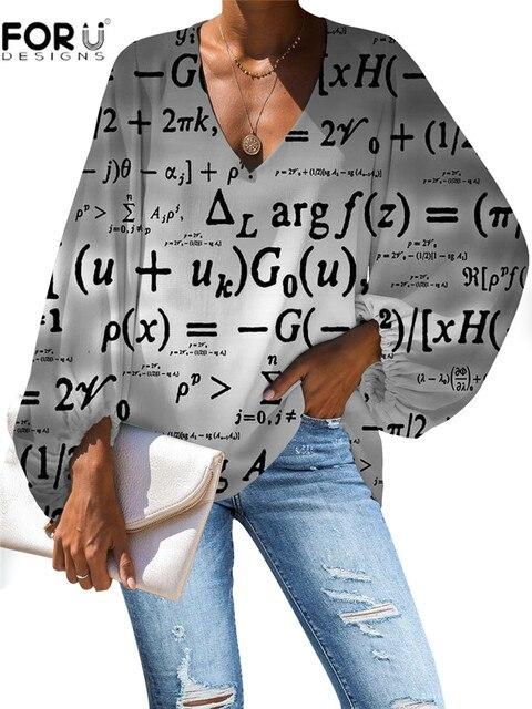 FORUDESIGNS Women Blouse Vogue Style 3D Math Formula Print Blouse V-Neck Long-sleeved Work Batwing Sleeve Loose Shirt 4