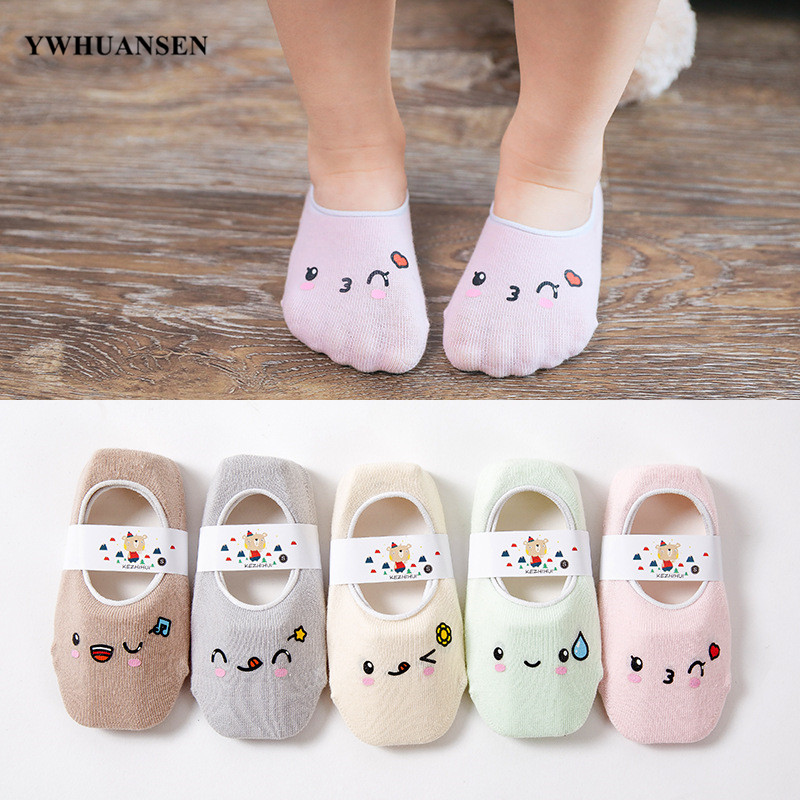 YWHUANSEN 5 Pairs/lot Cute Cartoon Children Low Cut Floor Socks Girls Boys Summer Boat Antislip Silicone Socks Invisible Toddler