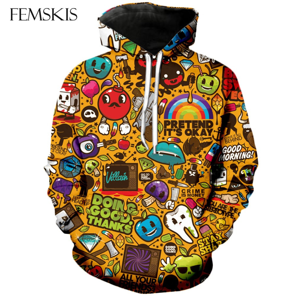 FEMSKIS Spring Autumn New 3D Print Men Women Pullovers Funny Clothing Fashion Hoodies Cartoon Hooded Casual Sweatshirt Tops