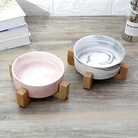 Ceramic pet bowl cat bowl dog bowl cat food bowl solid wood dish rack ceramic bowl marbled cat rice bowl water bowl