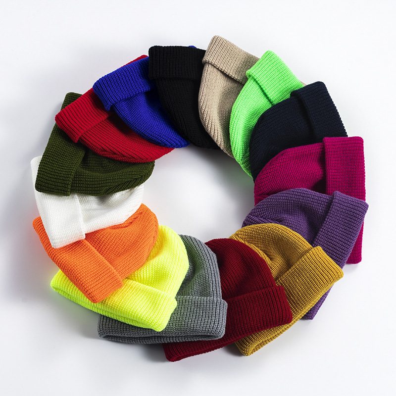 KENSHELLEY Women British Style Street Hip Hop hat Autumn and Winter Knitted Cuffed Slouchy Beanie hat men's warm short hat