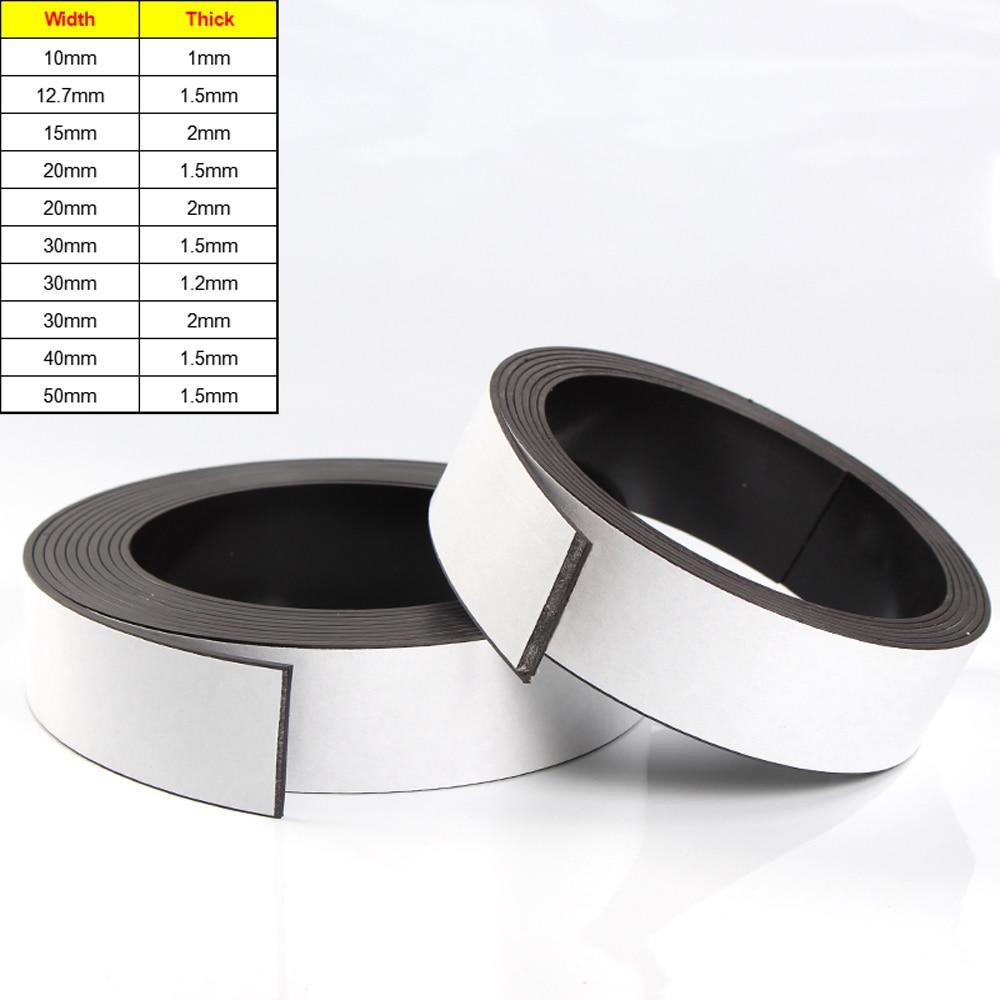 Самоклеящаяся магнитная лента, ширина 10-50 мм, толщина 1/1/1, 5/2 мм, гибкая клейкая магнитная лента ручной работы, магниты на холодильник