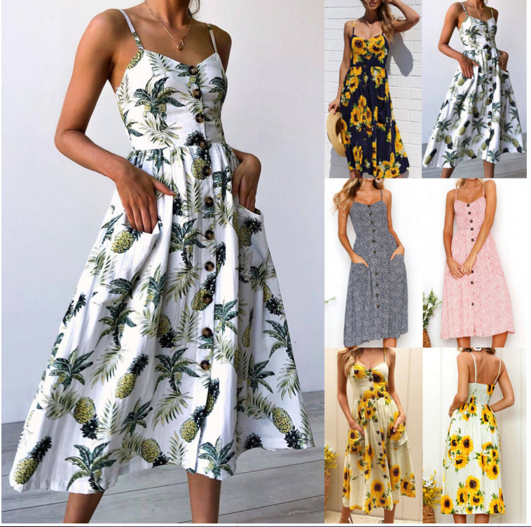 LadiesFashion And Leisure Retro Sun Dress Summer 2019 Boho Sexy Dress Midi Button Backless Polka Dot Striped Floral Beach Dress